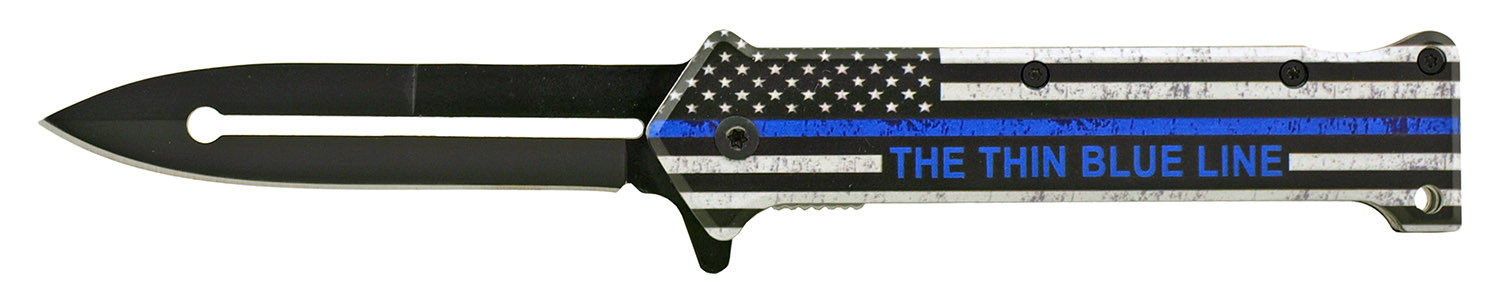 4.63 in Stiletto Spring Assisted Steel Folding Pocket Knife - Support Police Officers Blue Line American Flag