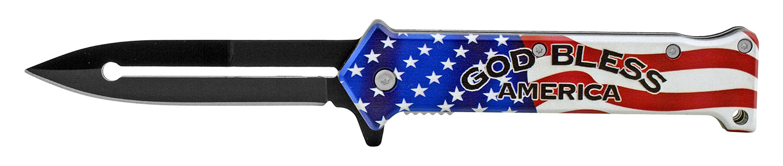 4.63 in Stiletto Spring Assisted Steel Folding Pocket Knife - God Bless America American Flag