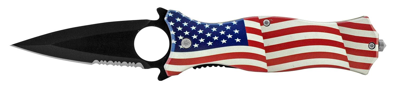 4.75 in Fighting Finger Grip Folding Pocket Knife - United States of America Flag