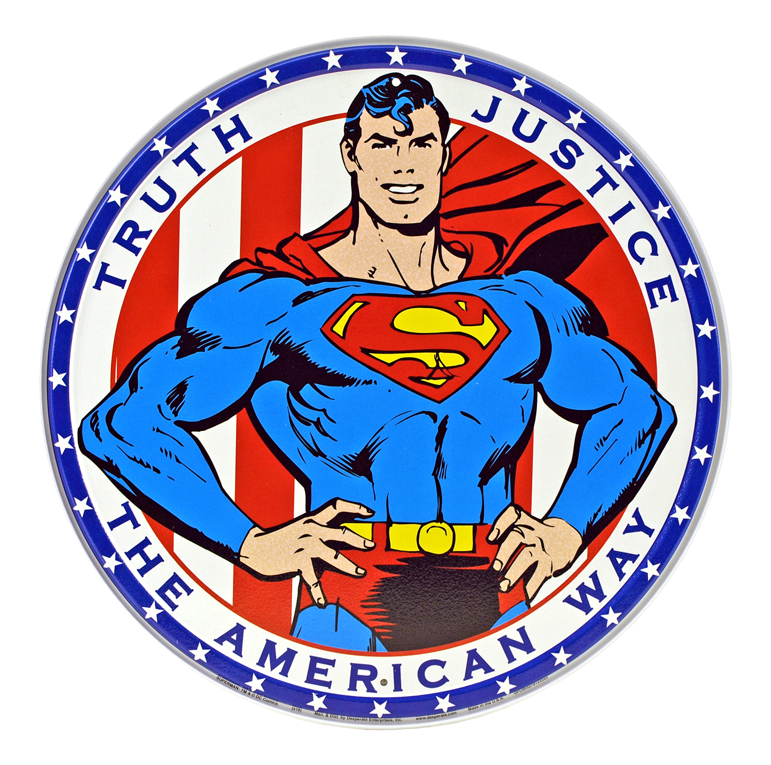 Truth, Justice, The American Way - Superman Round Metal Tin Sign