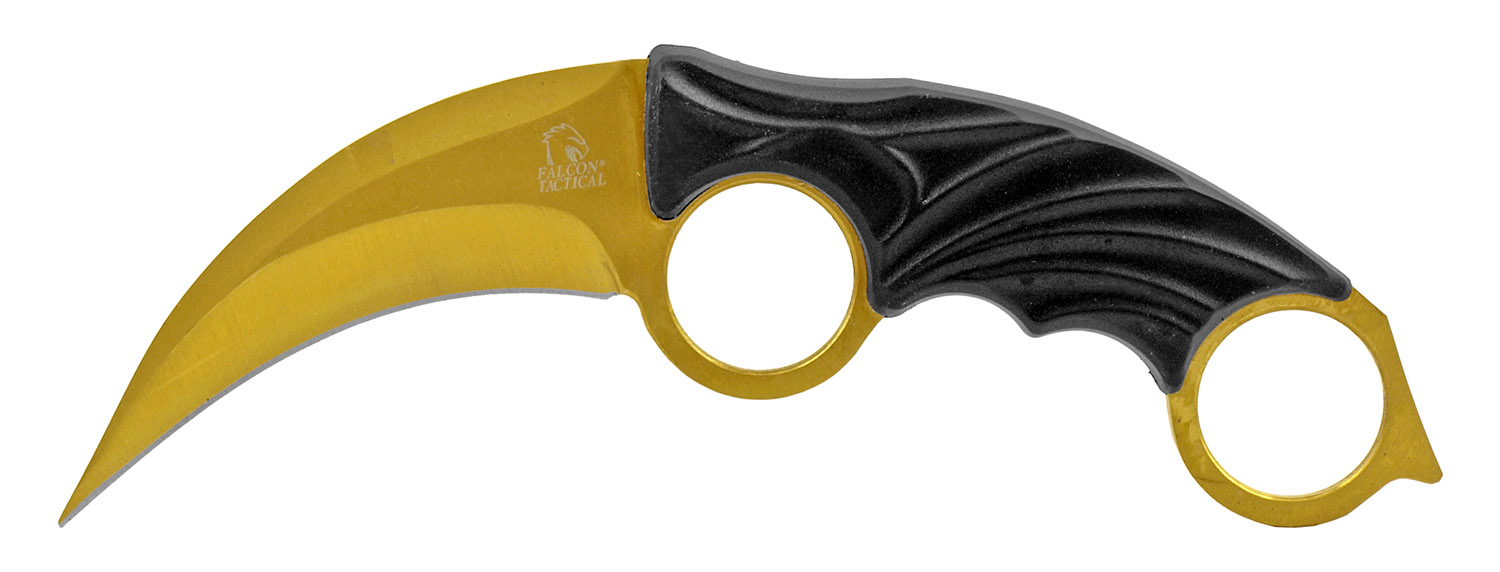 7.75 in Claw Rip Karambit Curved Blade Fighting Knife - Golden