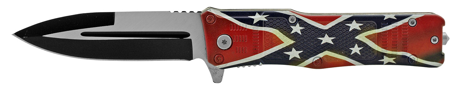 5 in Tech Spec Folding Pocket Knife with Glass Breaker - Confederate Flag