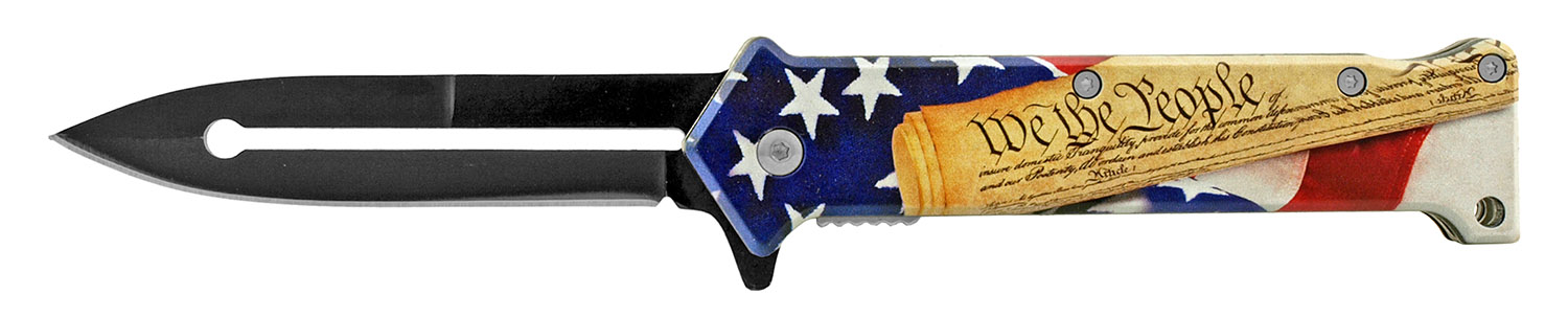 4.63 in Stiletto Spring Assisted Steel Folding Pocket Knife - We the People United States of America Flag