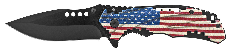4.75 in Tetris Grip Folding Pocket Knife - United States of America Flag