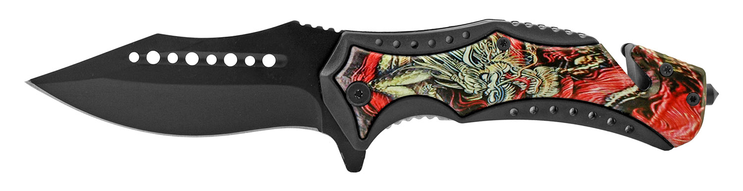 5 in Ancient Orient Folding Pocket Knife - Red Dragon