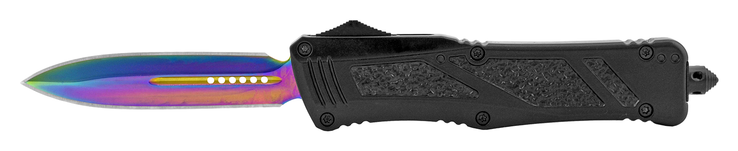 5.5 in Textured Stainless Steel Out the Front Folding Pocket Knife - Black and Titanium