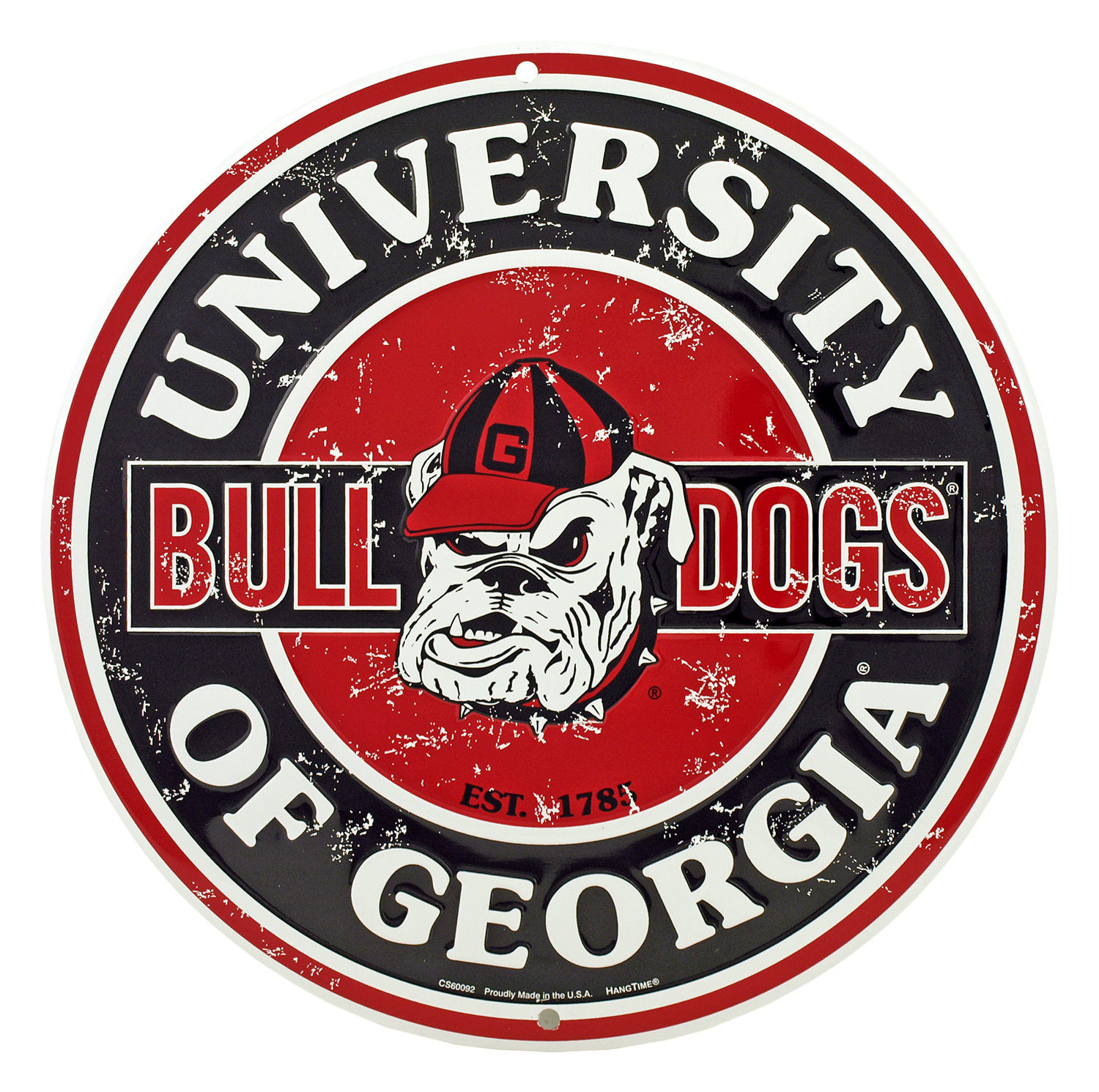 Georgia Bulldogs Distressed Round Tin Sign