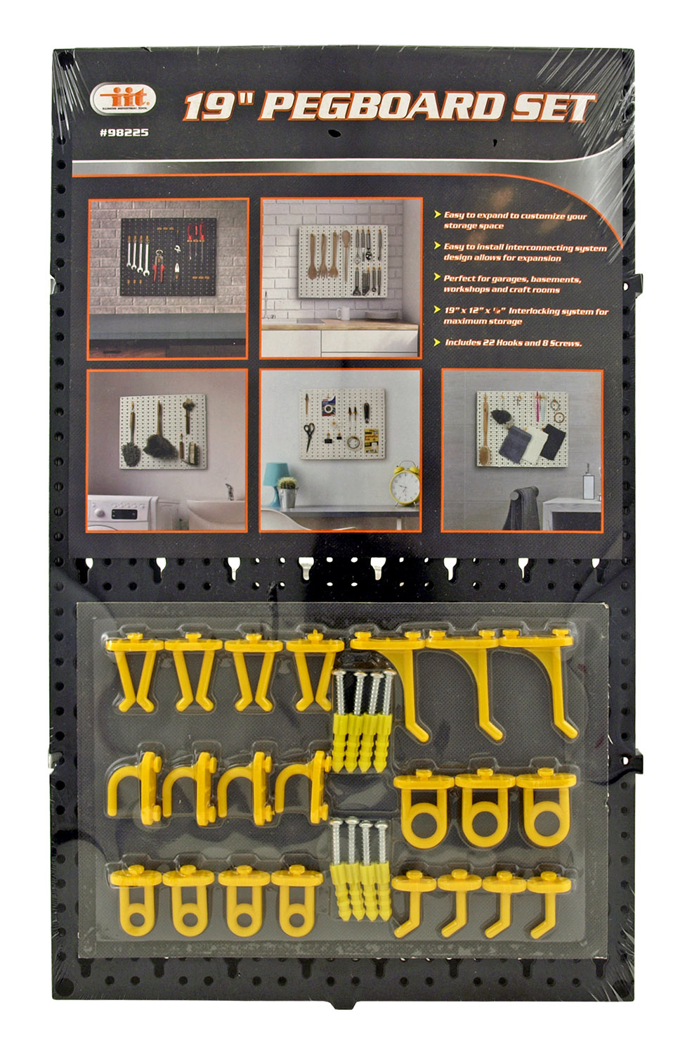 19 in Pegboard Set with Hooks and Mounting Board for Tools - IIT