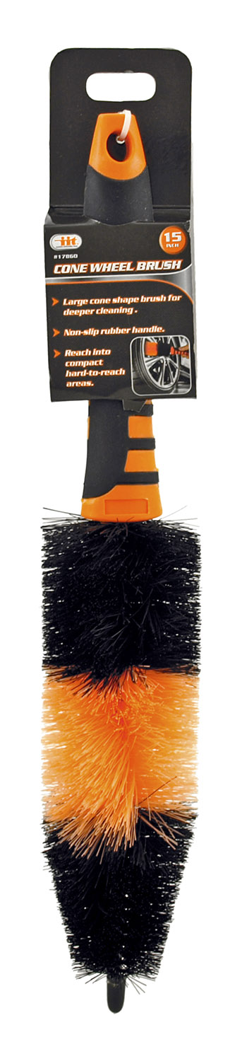 15 in Automotive Detail Cone Wheel Brush with Handle - Illinois Industrial Tool