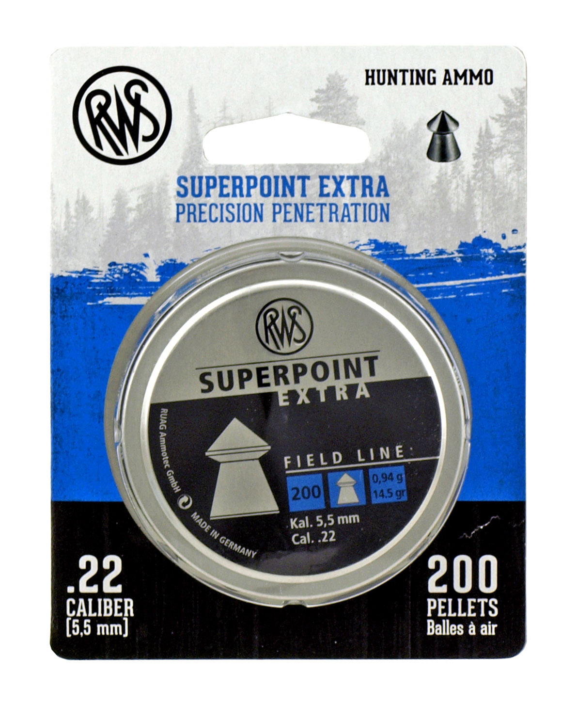 200 pc. RWS Superpoint Extra Precision Hunting Ammo .22 Caliber Airgun Pellet Ammo