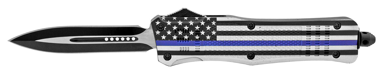 5.75 in Patriotic Out the Front Folding OTF Pocket Knife - Blue Line Flag Support Police