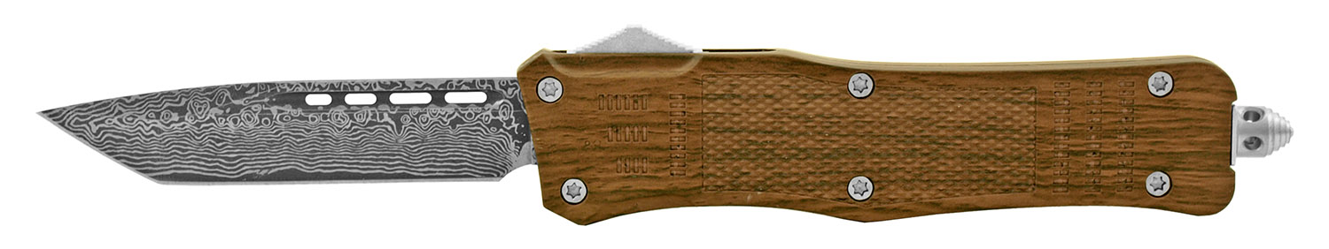 5.75 in Wood Styled Out the Front Folding OTF Pocket Knife - Wooden