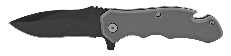 4 in Bottle Opener Spring Assisted Folding Pocket Knife with Belt Clip - Grey