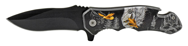 4 in Bottle Opener Spring Assisted Folding Pocket Knife with Belt Clip - Eagle