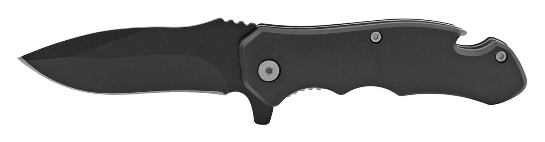 4 in Bottle Opener Spring Assisted Folding Pocket Knife with Belt Clip - Black
