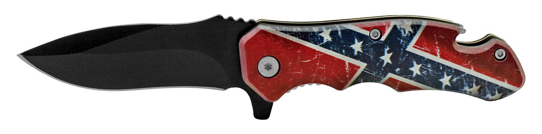 4 in Bottle Opener Spring Assisted Folding Pocket Knife with Belt Clip - Confederate Flag