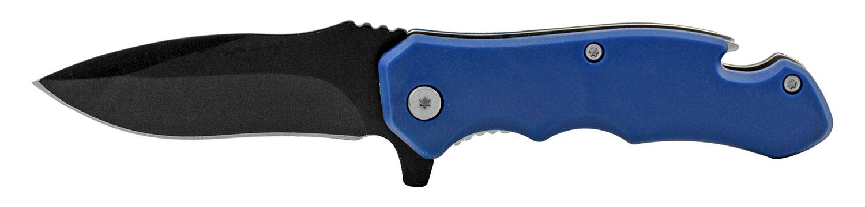 4 in Bottle Opener Spring Assisted Folding Pocket Knife with Belt Clip - Blue
