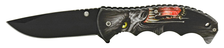 4.75 in Spring Assisted Finger Grip Folding Pocket Knife with Belt Clip - Warewolf