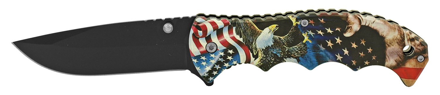 4.75 in Spring Assisted Finger Grip Folding Pocket Knife with Belt Clip - American Bald Eagle
