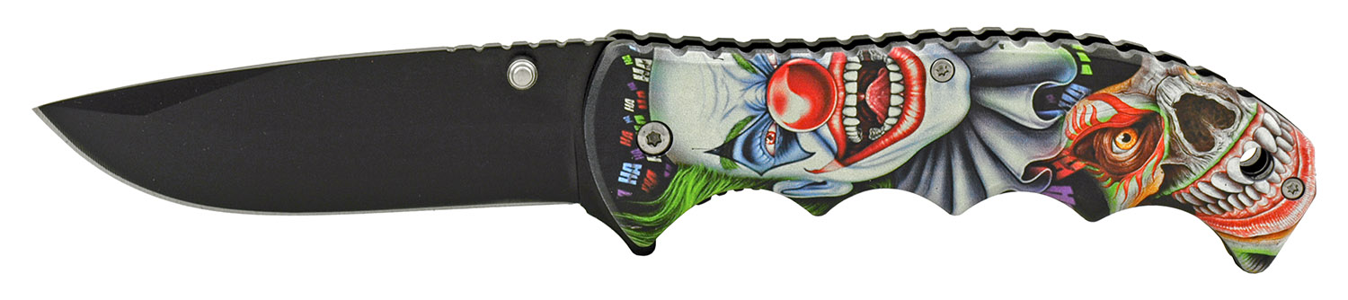 4.75 in Spring Assisted Finger Grip Folding Pocket Knife with Belt Clip - Insane Clown Carnival