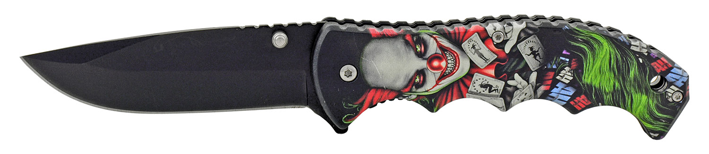 4.75 in Spring Assisted Finger Grip Folding Pocket Knife with Belt Clip - Twisted Evil Clown