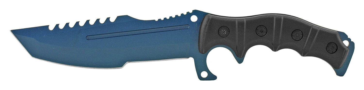 12 in Hunting Knife and Survival Kit with Fire Starter and Sharpening Stone - Blue