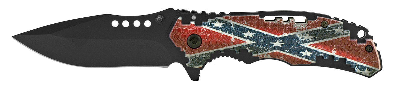 4.5 in Hi Tech Grip Folding Pocket Knife - Confederate Flag