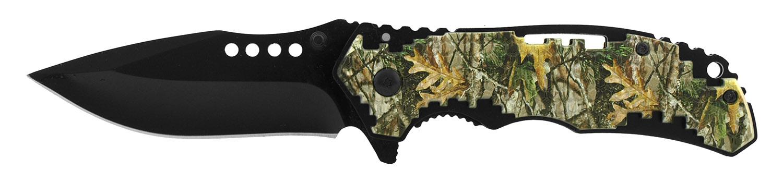 4.5 in Hi Tech Grip Folding Pocket Knife - Woodland Leaf Camo