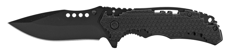 4.5 in Hi Tech Grip Folding Pocket Knife - Black