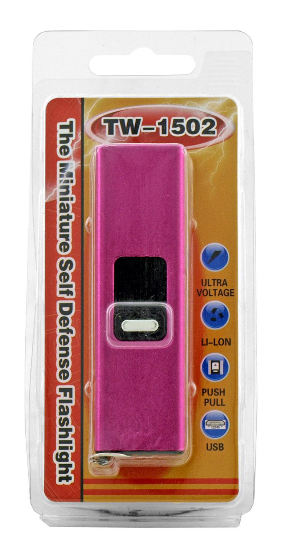 TW-1502 Miniature Flash Drive USB Self Defense Stun Gun and Flashlight - Pink