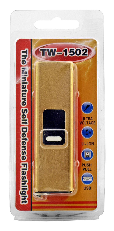 TW-1502 Miniature Flash Drive USB Self Defense Stun Gun and Flashlight - Gold