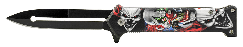 4.5 in Joker Stiletto Folding Pocket Knife - Three Joker Clowns