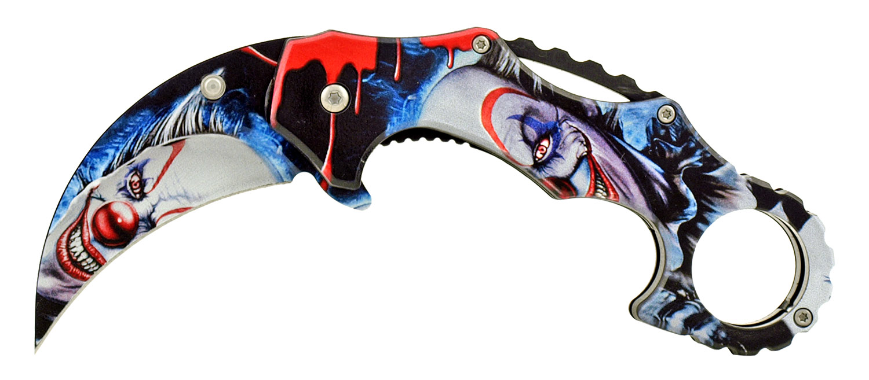 4.75 in Karambit Fighting Style Folding Pocket Knife - Joker
