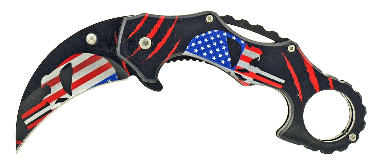4.75 in Karambit Fighting Style Folding Pocket Knife - American Punisher Skull