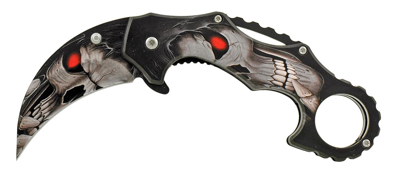 4.75 in Karambit Fighting Style Folding Pocket Knife - Grim Reaper Skull