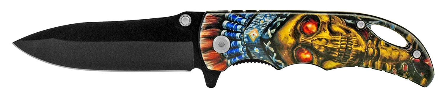 4 in Folding Pocket Knife with Belt Clip - Indian Chief Skull