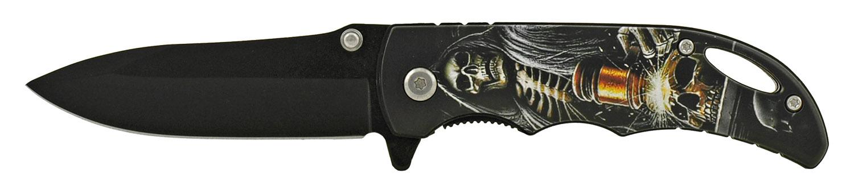 4 in Folding Pocket Knife with Belt Clip - Grim Reaper Judgement
