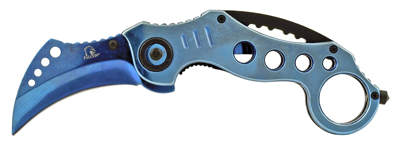 5 in Stainless Steel Karambit Fighting Folding Pocket Knife - Blue