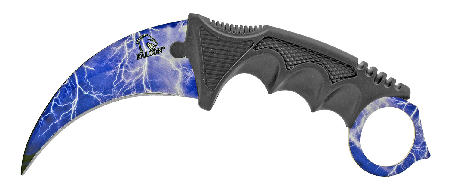 3 - pc. Tactical, Hunting, and Karambit Knife Set Collection - Blue Lightning