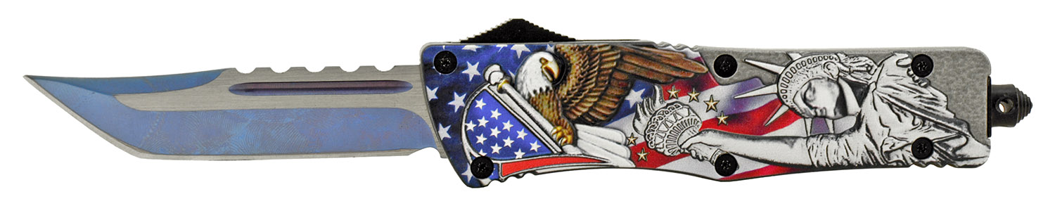 5.5 in Stainless Steel Out the Front Folding Pocket Knife - American Heritage