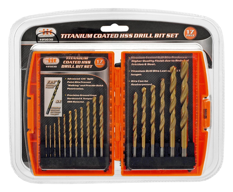 17 - pc. Titanium Coated HSS Drill Bit Set