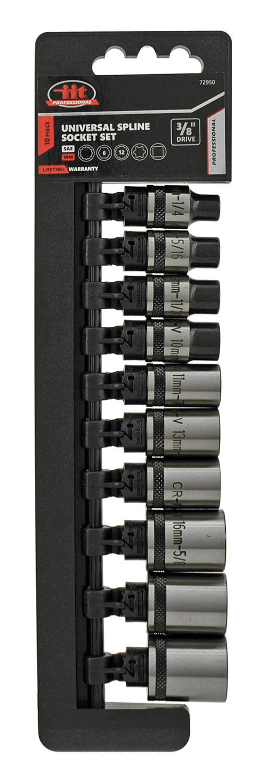 3/8 in Drive - Universal Spline SAE/MM Socket Set - IIT Professional