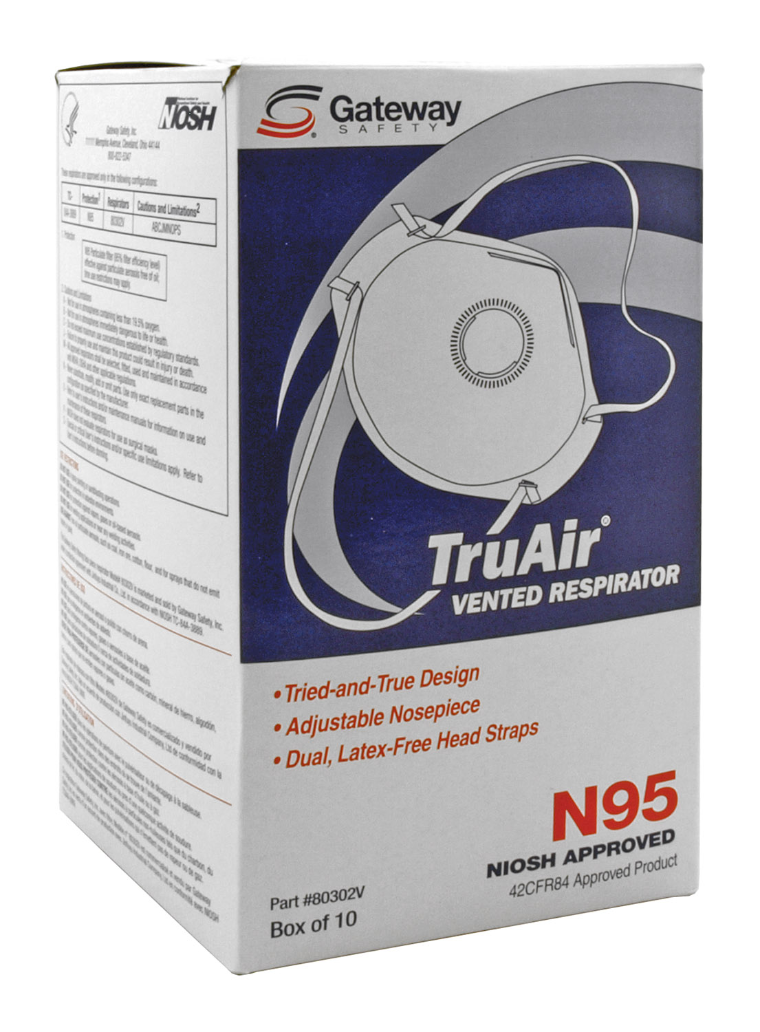 Box of 10 N95 Niosh Approved TruAir Vented Respirator Face Dust Mask Covering - Gateway Safety