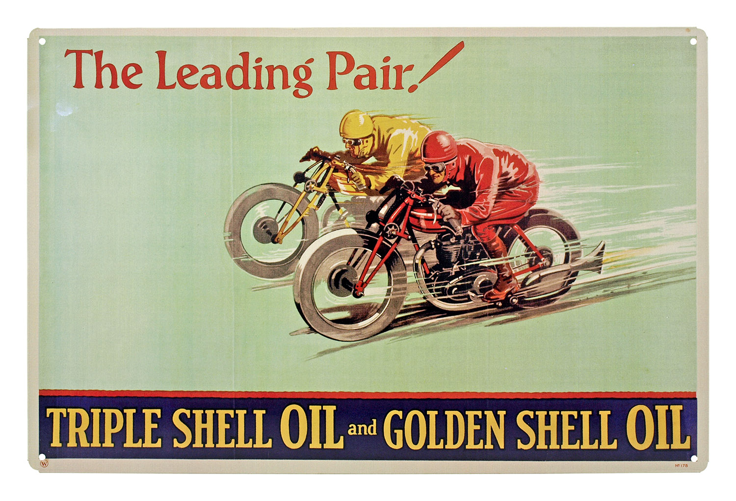 The Leading Pair Triple Shell Oil and Golden Shell Oil Metal Tin Sign