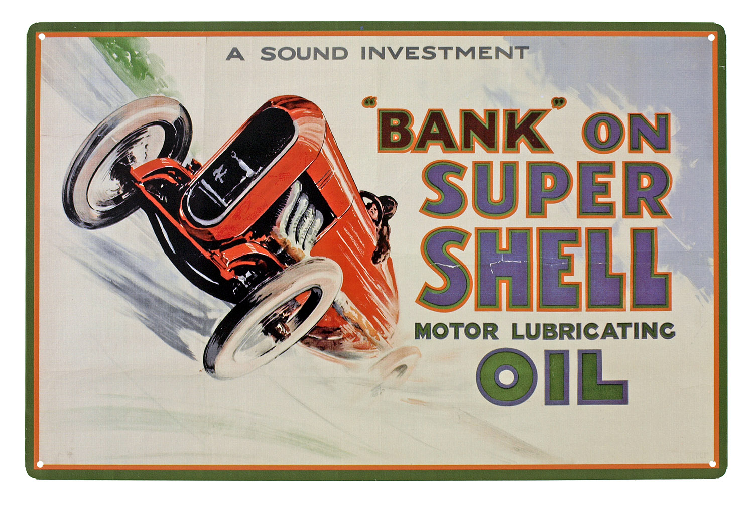 Bank on Super Shell Motor Oil Metal Tin Sign