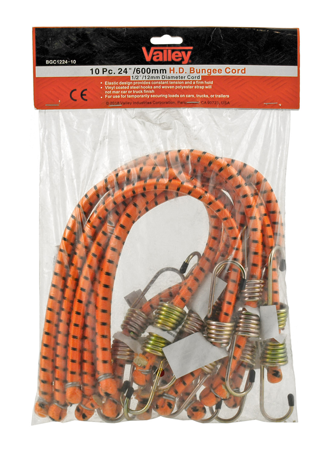 10 pc. 24 in Heavy Duty Bungee Cords - Valley