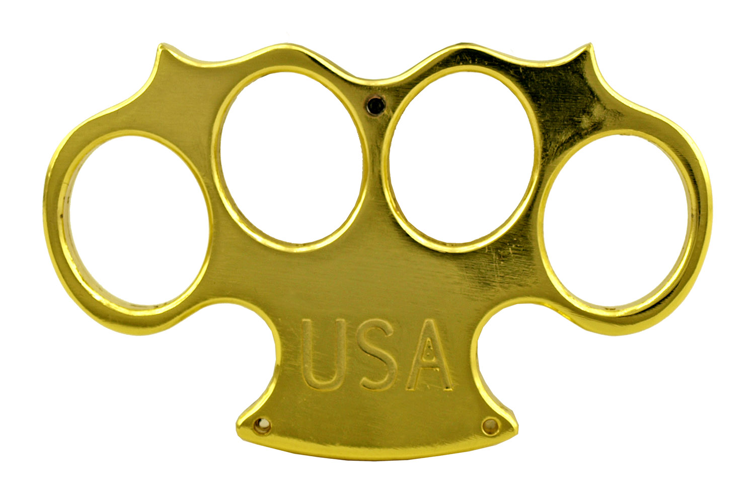 Traditional Old School US Marshall Brass Knuckles Duster Belt Buckle with Prong Attachment - Gold