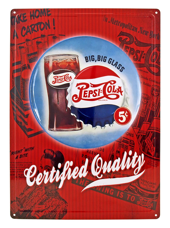 Big Big Glass 5 Cent Pepsi Cola Soda Metal Tin Sign