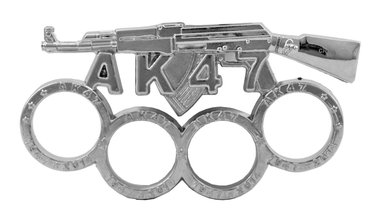 AK47 Russian Mob Gangster Brass Knuckles Duster Paper Weight - Chrome