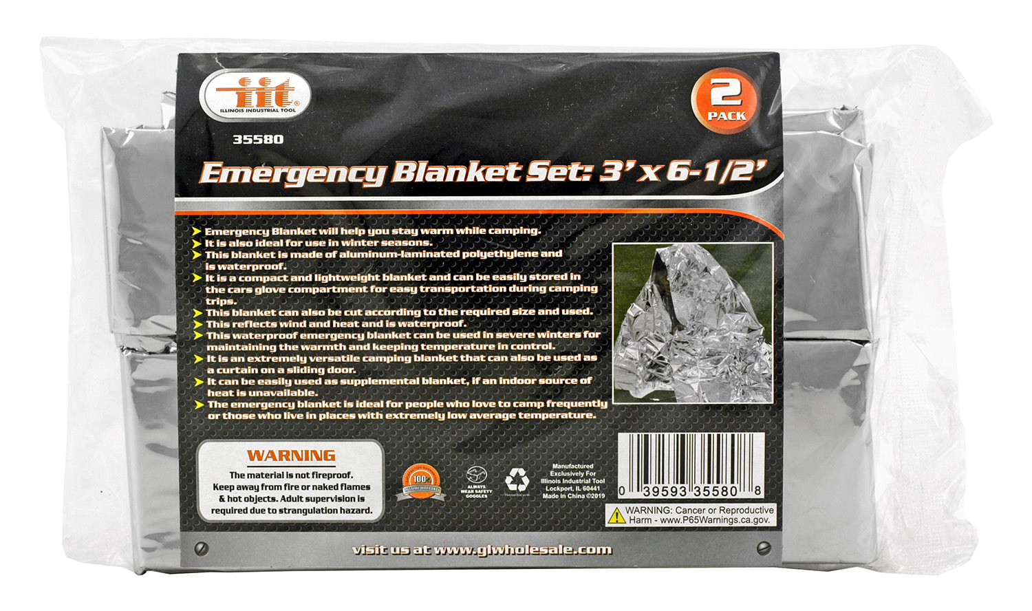 2-pc. 3' x 6-1/2' Emergency Blanket Set